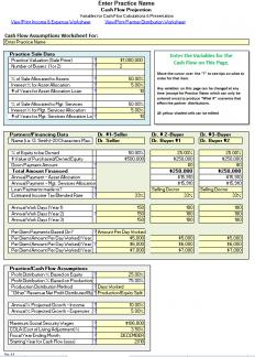 Practice Sale/Buy-In for 1 or 2 Buyers Cash Flow Analysis Worksheet