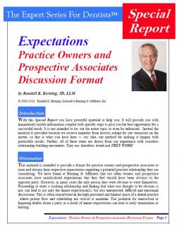 Expectations: Practice Owners and Prospective Associates Discussion Format